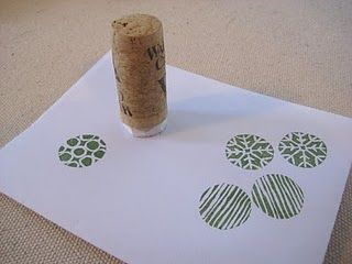 hand carved stamps (soak corks in hot water for 10 minutes before cutting them for crafts--they won't crumble)