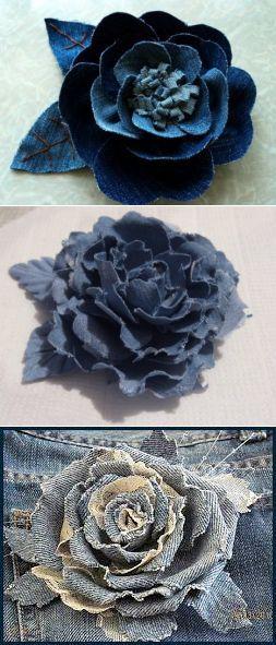 Цветы из джинсовой ткани своими руками | Цветы из лент, вышивка лентами | Постила
