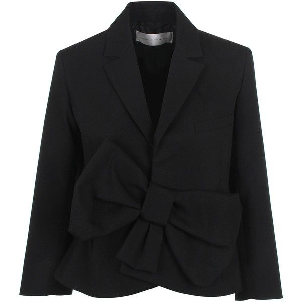 Victoria, Victoria Beckham Tux Bow Jacket (10.215 RUB) ❤ liked on Polyvore featuring outerwear, jackets, blazer, tuxedo jacket, blazer jacket, bow jacket, dinner suit and tuxedo suit