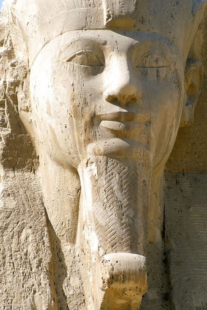 Close-up of the face of an alabaster sphinx dating from the New Kingdom, Memphis, Egypt, North Africa, Africa