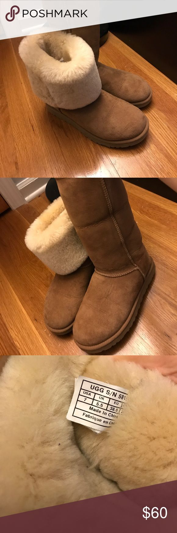 Tall classic chestnut uggs Tall chestnut uggs-woman's size 7 they can be Woden folded or unfolded as seen in the picture- just have a crease where they are usually folded UGG Shoes