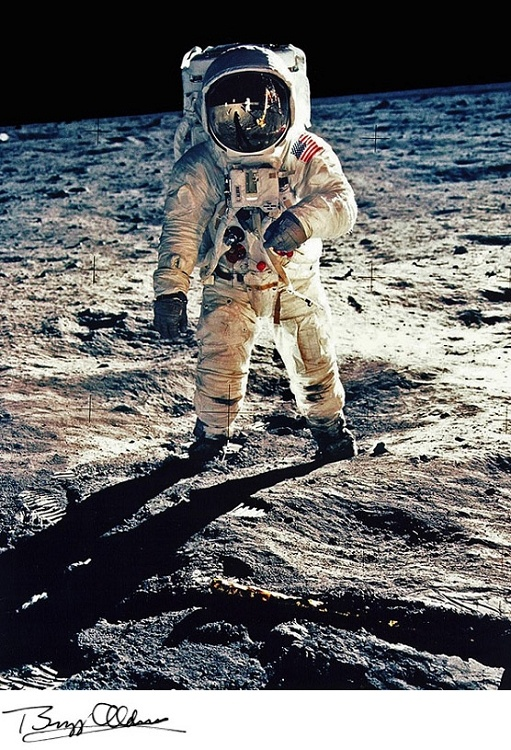 Buzz Aldrin on lunar surface (1969) - so I can follow in his footsteps