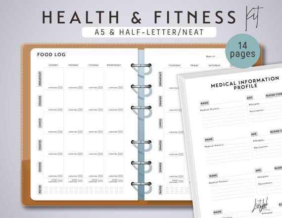 Say hello to a healthier you with these printable designs. Included in this collection are sheets that help increase motivation by clearly seeing efforts in logs and plans. To keep you in check with healthy choices, theres also a food inventory, a meal plan and recipe logs. Included are the Half-Letter AND A5-size versions. These sheets are perfect inserts for A5 planners like Filofax A5 & Kikki K Large. This is a PERPETUAL SET. All sheets are not date-stamped. You can use them over and...