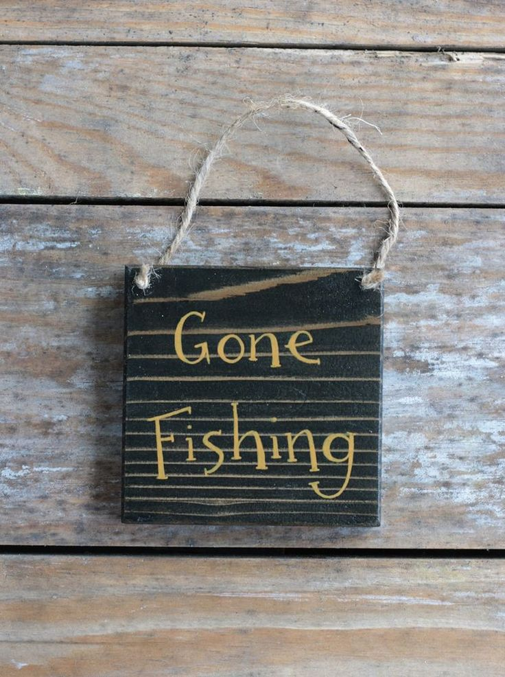 Small Wooden Sign Ornament Gone Fishing Rustic Hand Painted Black Gold 4x4 inch #Handmade #Lodge