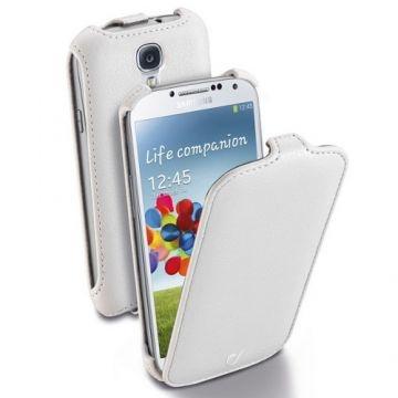 Husa Flap Cellularline Flapgalaxys4W este facuta din piele ecologica de culoare alba, de calitate pentru Samsung Galaxy S4 i9500.