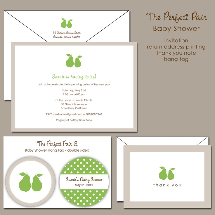 The Perfect Pair Twins Baby Shower Invitation. $25.00, via Etsy.