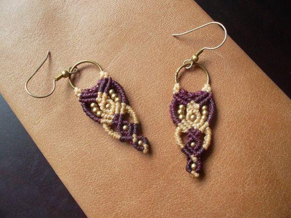 Beige and garnet Macrame earrings with brass by LunaticHands