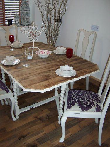 vintage gateleg table u0026 chairs shabby chic annie sloane old ochre solid wood