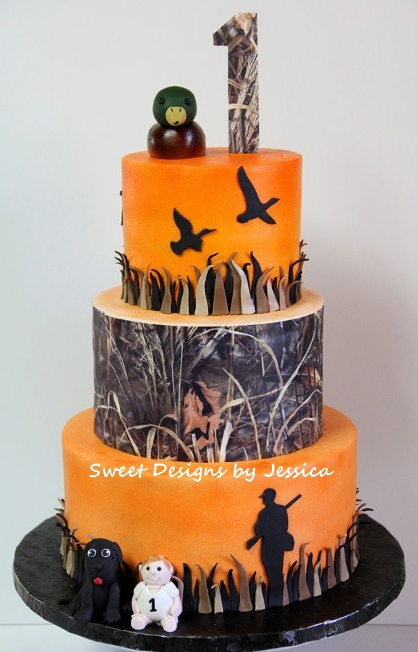Artist's 1st - Duck Hunting themed 1st bday cake.  Mom wanted baby and family's lab added to bottom tier.