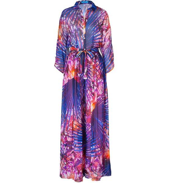 MATTHEW WILLIAMSON ESCAPE Pink-Multi Wide Leg Printed Silk Jumpsuit ($808) ❤ liked on Polyvore