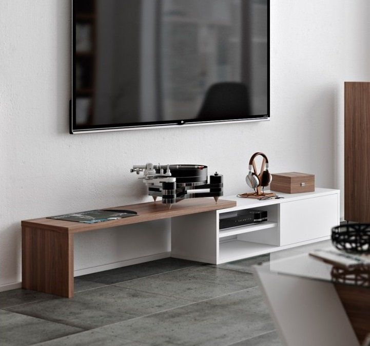 TEMAHOME meuble TV modulable MOVE blanc et noyer avec1 porte coulissante