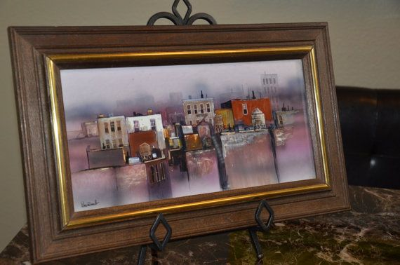 Art by Herbert Weintraub Oil on Board Painting of New York Harbor Skyline | Available at KL Collection, $495.00