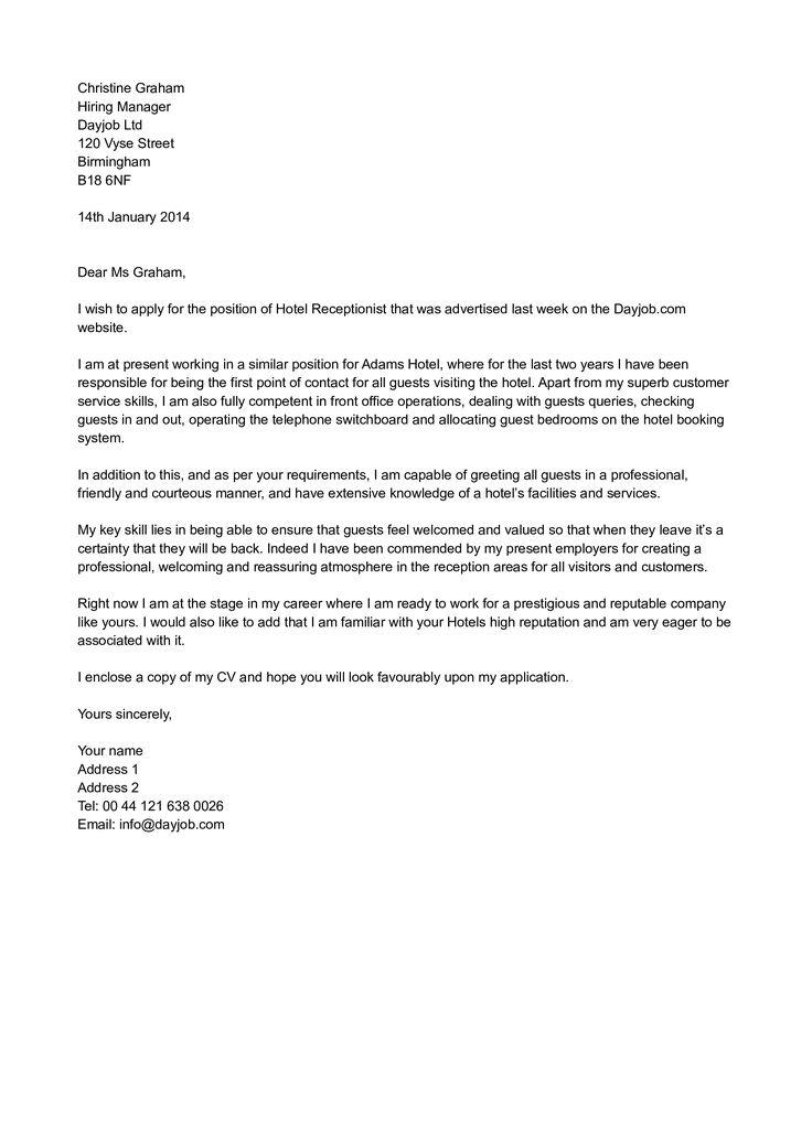Hotel Receptionist Job Application Letter How To Write A Hote Job Application Letter Template Writing An Application Letter Application Letter For Employment