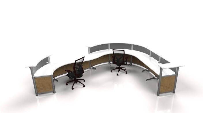 Slightly curved reception desk in Nova white work-surface, Inspiration laminate & Frosted  acrylic divider Panels,  The transaction top is in Nova White.