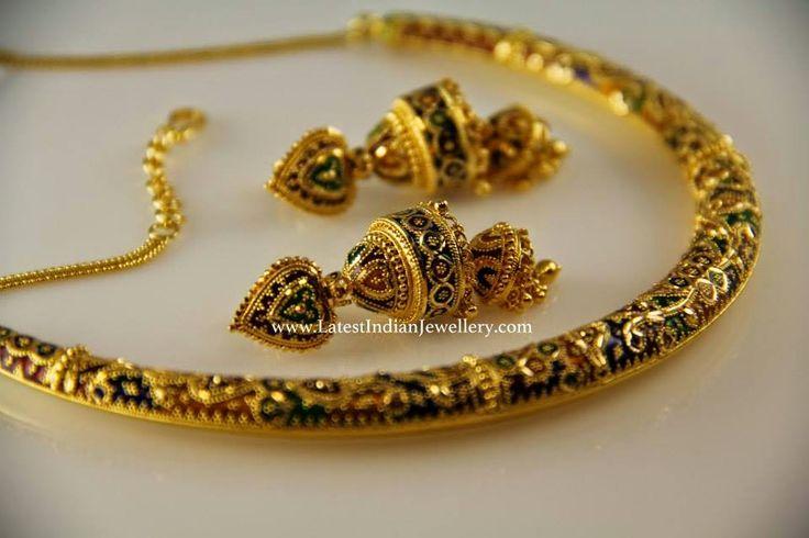 Meenakari Work Gold Hasli Jhumkas