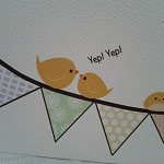 Cute Happy Bunting Card on White Textured Cardstock - Yellow Canary - by CuteKotori on madeit