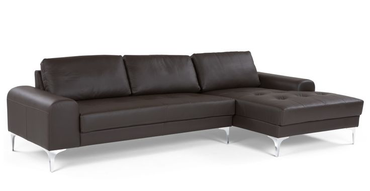 Vittorio, un canapé d'angle droit, cuir italien de qualité marron foncé | made.com