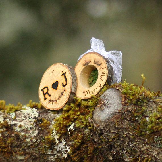 Rústico anillo portador almohada caja registro por WoodlandFever