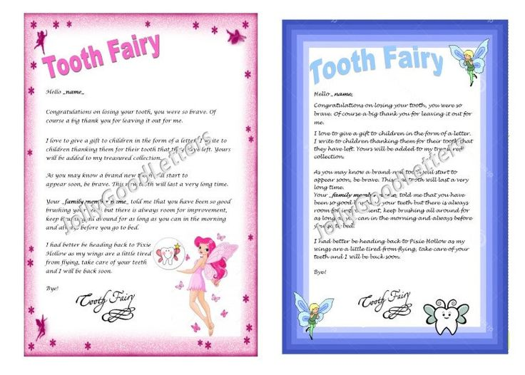 Tooth fairy letter child boy girl toddler personalised for Fairy letters to child