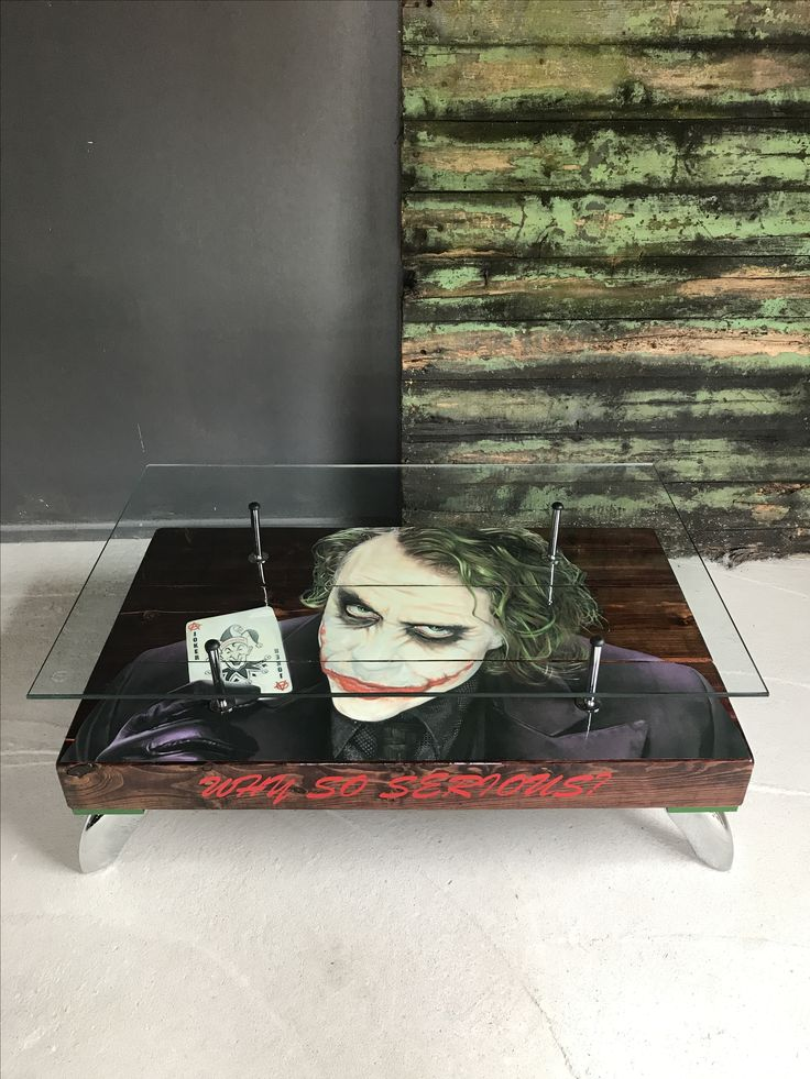 """Hand built The Joker """"Playing Card"""" Coffee Table with Glass top."""