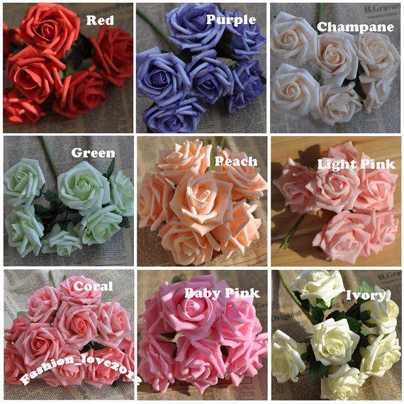 72 pz schiuma Rose artificiali fiori multicolore nozze forniture Wedding Decor…