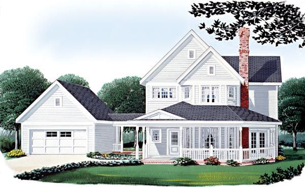 House Plan 95569 | Country   Farmhouse  Victorian    Plan with 1832 Sq. Ft., 3 Bedrooms, 3 Bathrooms, 2 Car Garage