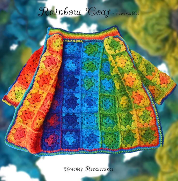 Crochet Pattern.  Child's Reversible Rainbow Granny Square Coat Jacket.  Snugly and vibrant, perfect for Fall, Winter and Spring.   www.etsy.com/shop/crochetrenaissance and www.ravelry.com/people/crochet41to5s