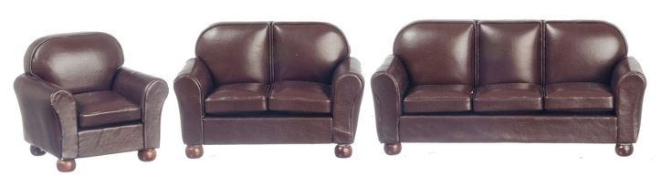 3 pc Leather Living Room Set - Brown