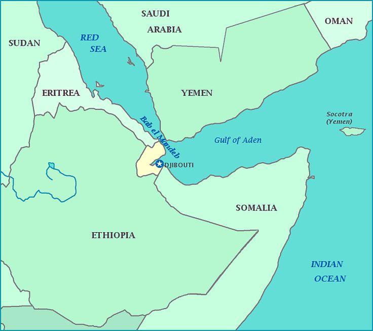 Djibouti map, Map of Djibouti, Eritrea, Yemen, Somalia, Ethiopia, Bab al Mandeb, Gulf of Aden