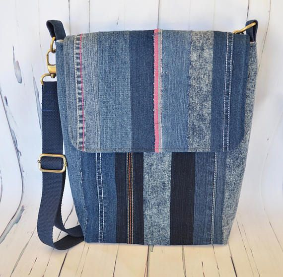 Recycled jeans bag denim patchwork bag book satchel jeans