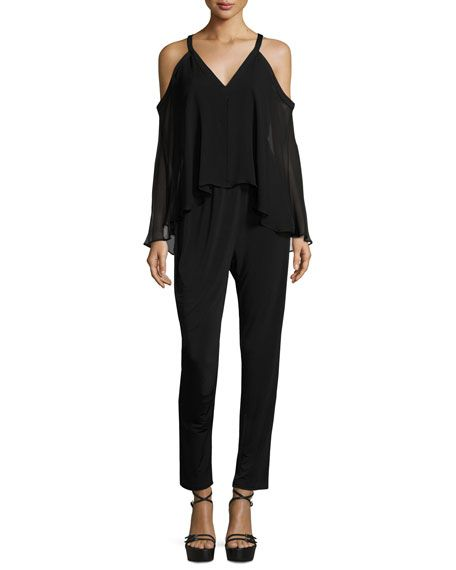 a9a06be6d057 Aleah Cold-Shoulder Jumpsuit w  Chiffon Overlay