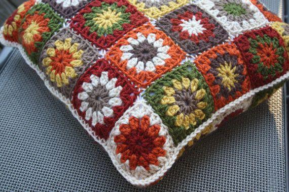 Granny Square Pillow Crochet  Fall Colors