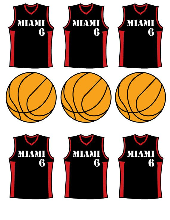 Instant Download Miami Heat Cupcake Toppers  JPEG 300 dpi printable basketball sports jersey miami heat NBA ball black and red on Etsy, $6.00