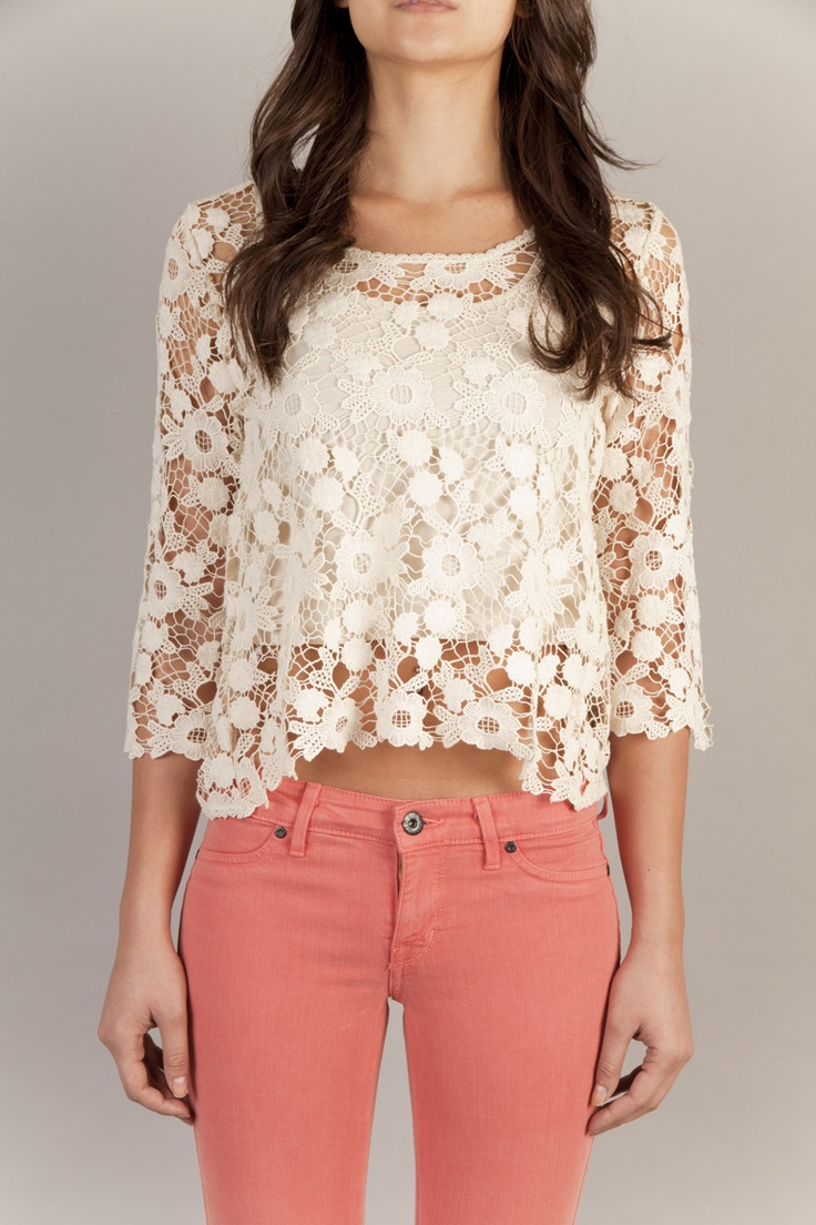 pink lace blouse and the white pants