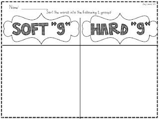 """Second Grade Week 3: The teacher can give the students both soft g and hard g words and then have the students cut the words out and classify them as soft """"g"""" or hard """"g."""""""