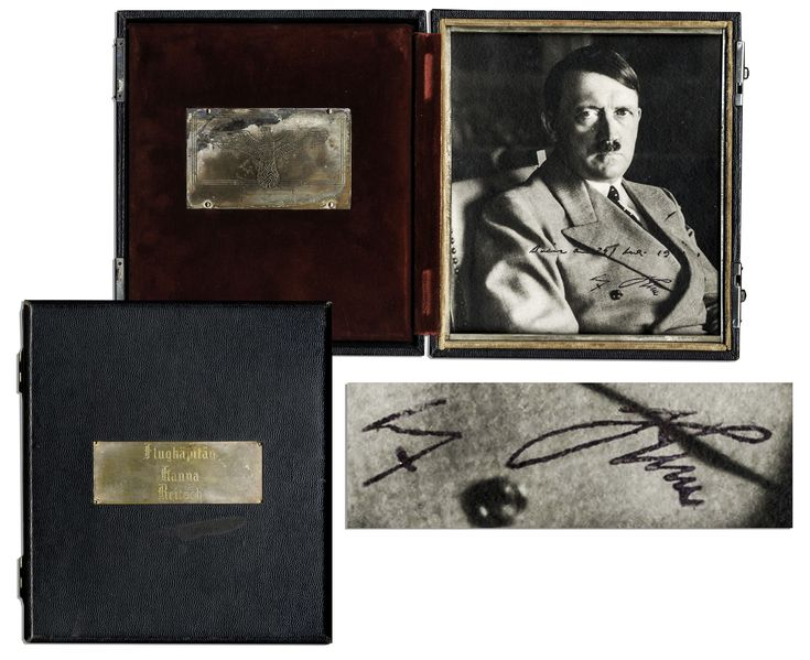 Signed by Hitler and offered to the Luftwaffe female test pilot Hanna Reitsch