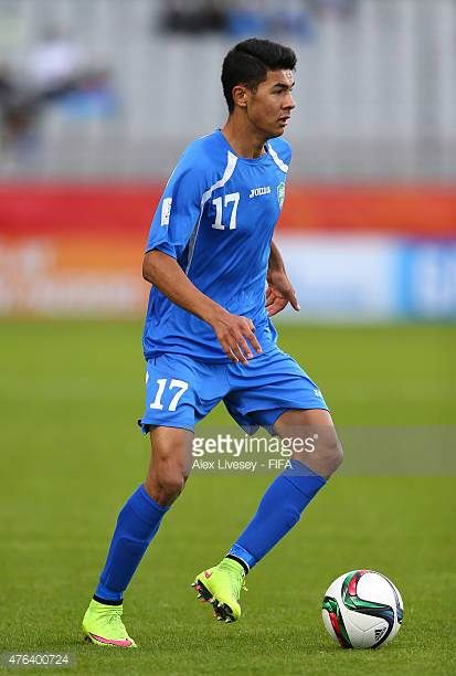 Dostonbek Khamdamov of Uzbekistan runs with the ball during the FIFA U20 World Cup Group F match between Fiji and Uzbekistan at the Northland Events...