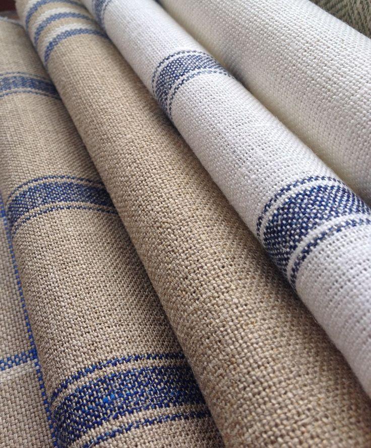 Collection: Linens.  Fabrics:  Grain stripe indigo,  Angus stripe navy,  Grain stripe nordic indigo,  Angus stripe nordic indigo,  Skye check indigo.