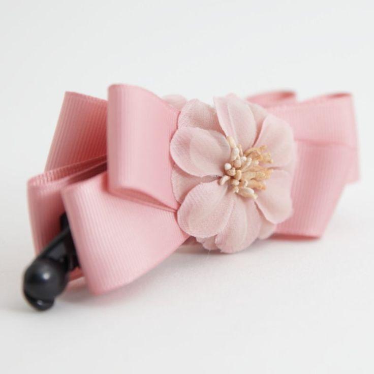 Handmade Twin Ume Flower Blossom Bow Banana Hair Clip  #Handmade