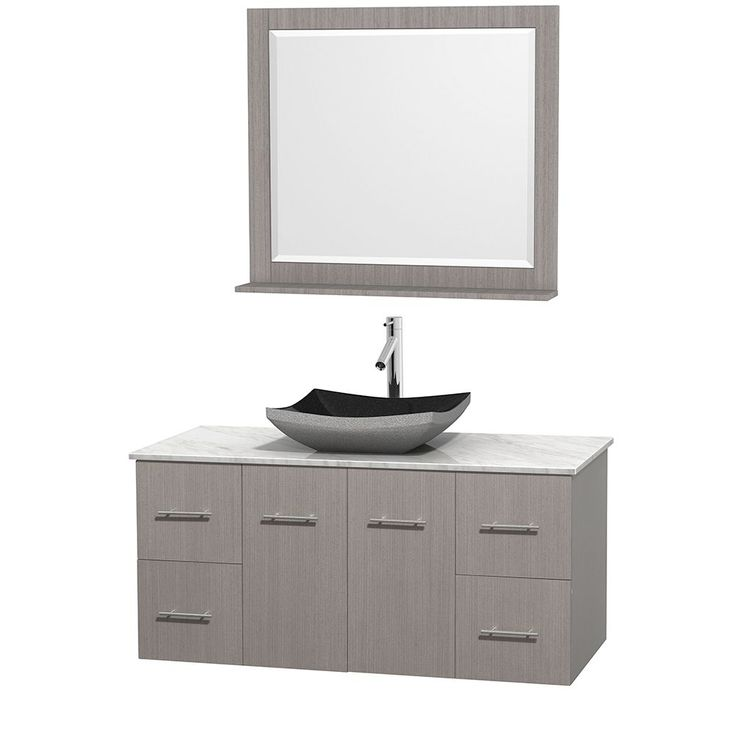 "Wyndham Collection Centra Grey Oak 48-inch Single Carrera Marble Bathroom Vanity with Mirror (48"" Grey Oak,WTCarrera Top,Avalon Car Sink,36"" Mir), Size Single Vanities"