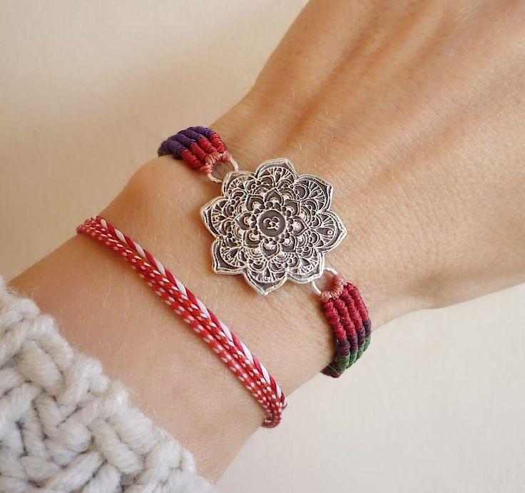Sterling Silver Macrame Mandala Bracelet - Handmade Yoga Bracelet