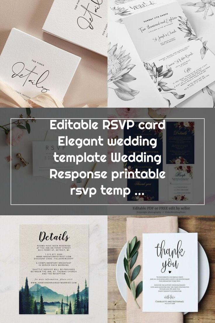 Editable RSVP card Elegant wedding template Wedding