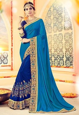 Half N Half Art Silk Saree in Teal Blue and Royal Blue