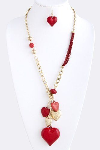 """Layered Multi Heart Charm Gold Chain Link Necklace - Valentines Heart Charm Gold Chain Link Statement Necklace StarShine Jewelry. $22.10. Length approx 26"""". Charm drop 5"""". Layered heart charm chain necklace. Lead and nickel safe"""