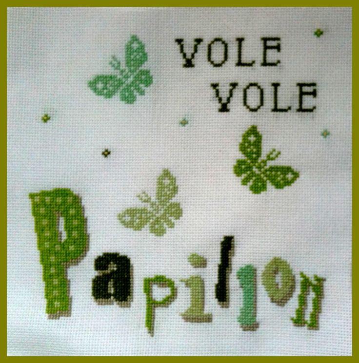 grille point de croix gratuite, point de croix vert, point de croix papillon, crossstitch, free stitch