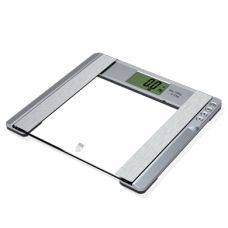 Pure pleasure Glass Diagnostic Bathroom Scale.  6-in-1: Scale, body fat, body water, muscle percentage, bone mass  calorie analysis Max Capacity: 150kg/ 330lb/ 24st Division: 100g/ 0.2lb 46 x 84mm LCD Digits Foot tap start or key-press on Weighing unit switch between kg/ lb/ st 10 Users-Memory places with data (age, gender and height) Automatic Zero and Switch O Low battery  overload indication 2 x CR2032 http://www.myscalestore.com/1000x0.1lb-22x32-bench-scale-with-casters.html