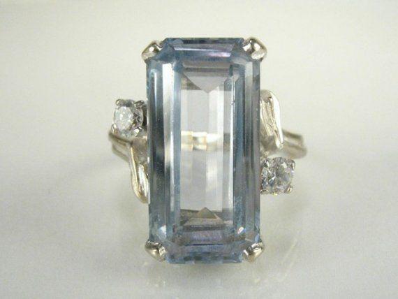 Vintage Aquamarine and Diamond Cocktail Ring