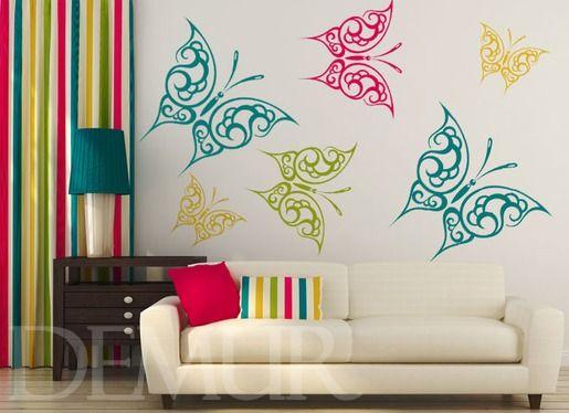 Wzorzyste motylki - Zwierzęta - Naklejka na ścianę - Demur