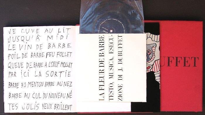 Trucchi Lorenza, Jean Dubuffet. De Luca,  1965. 275 tavole in nero e a colori applicate. Allegato in tasca in terza di copertina un disco 33 giri intitolato ''Le fleur de barbe'', testo, musica, esecuzione dell'Artista