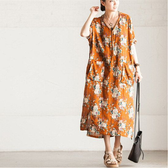 Printing Flower Linen Dress Women Maxi Loose par PrettyQualityDecor